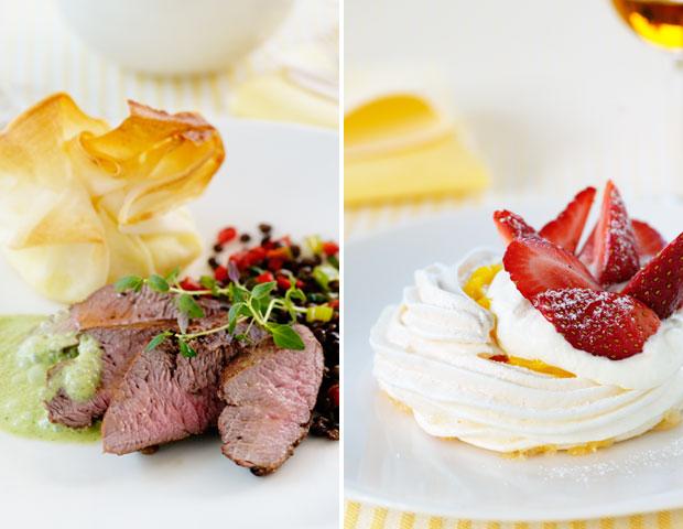 Lammfilé, mandelpotatisknyten & linssallad och marängnästen med citronkräm av Maud Onnermark. Foto: Ulrika Pousette
